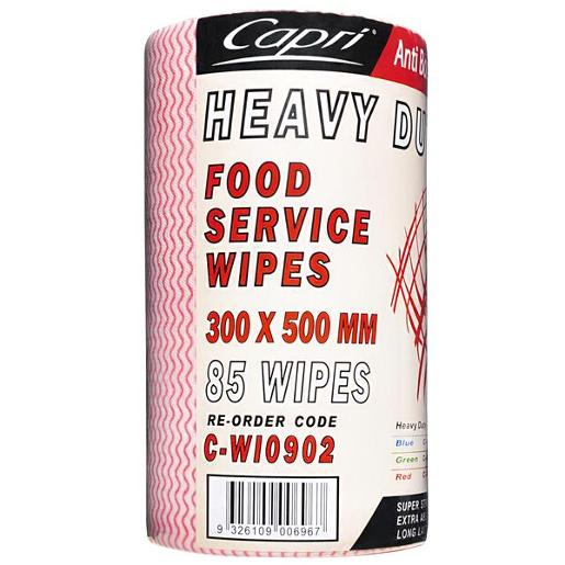 HEAVY DUTY FOOD SERVICE RED WIPES 500MM