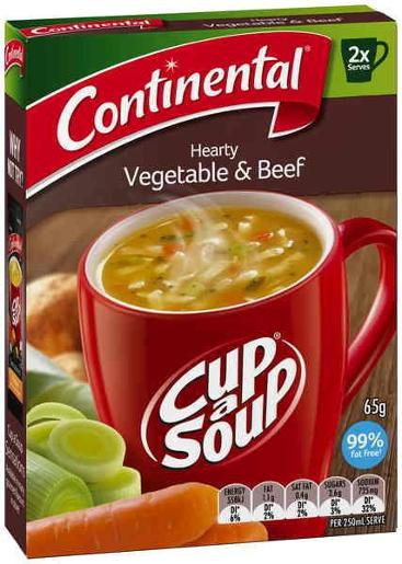 HEARTY VEGETABLE BEEF CUP-A-SOUP 2 SERVES 65GM