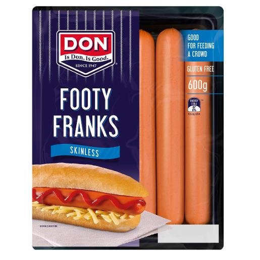 SKINLESS FOOTY FRANKFURTS 600GM