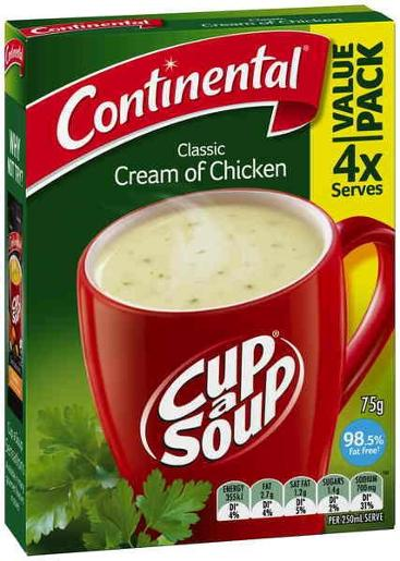 CREAM OF CHICKEN CUP-A-SOUP 4 SERVES 75GM