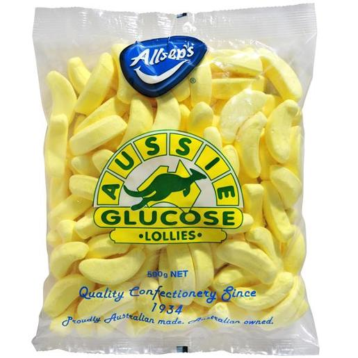 AUSSIE GLUCOSE BAG-A-LOLLIES BANANAS 500GM