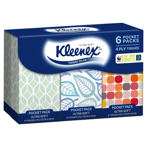 FACIAL TISSUE POCKET PACK 6PK
