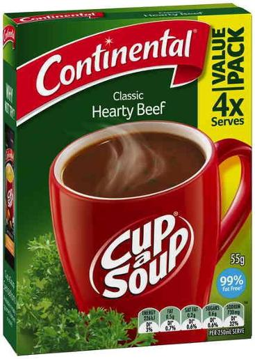 HEARTY BEEF CUP-A-SOUP 4 SERVES 55GM