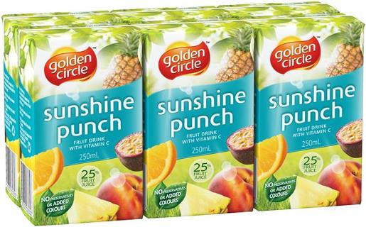 SUNSHINE PUNCH JUICE 6 PACK 250ML