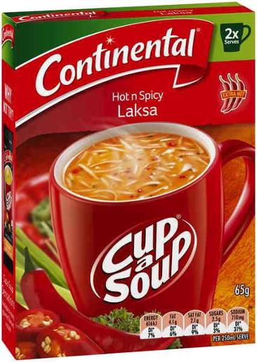 HOT & SPICY SOUP LAKSA CUP-A-SOUP 2 SERVES 65GM