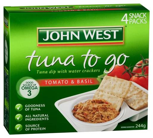 TUNA TO GO TOMATO AND BASIL MULTI PACK 244GM