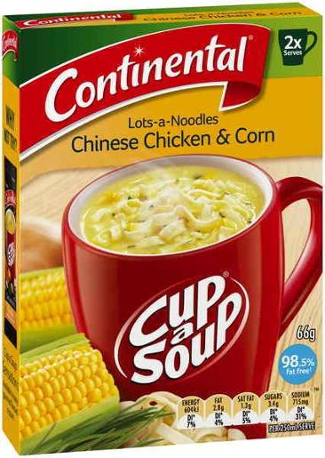 CHINESE CHICKEN & CORN LOTS-A-NOODLES SOUP 2 SERVES 66GM