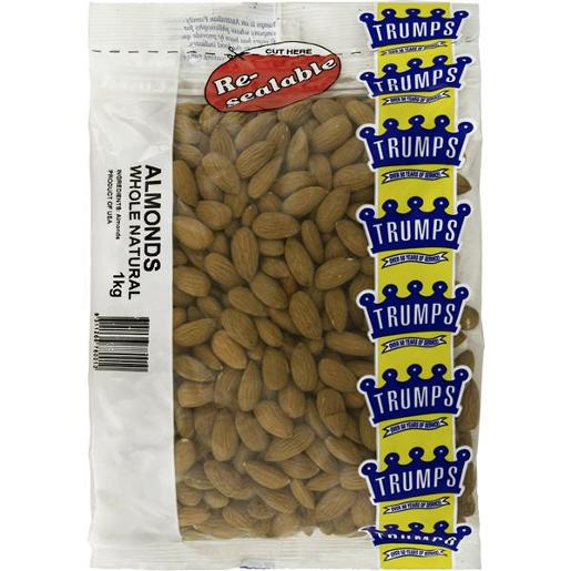 NATURAL WHOLE ALMONDS 1KG