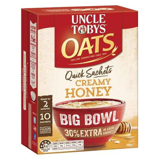 QUICK OATS CREAMY HONEY BREAKFAST CEREAL BIG BOWL 10PK
