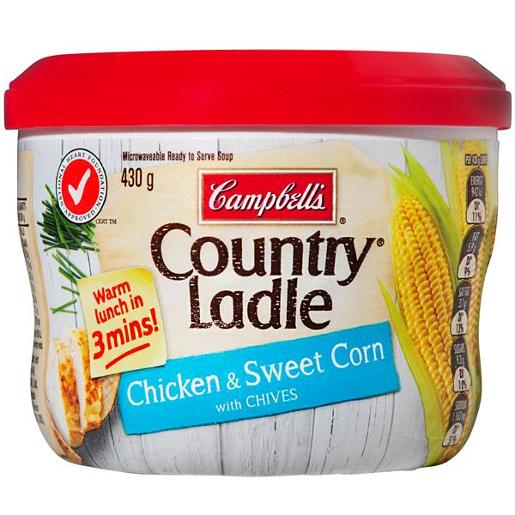COUNTRY LADLE CHICKEN SWEET CORN CHIVES MICROWAVE SOUP 430GM