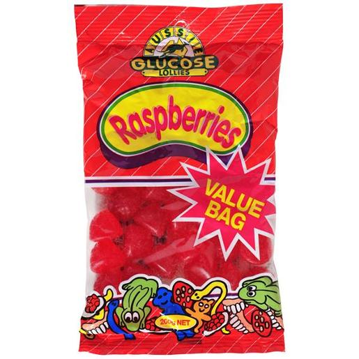 AUSSIE GLUCOSE VALUE BAG RASPBERRIES 200GM