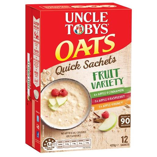 QUICK OATS FRUIT VARIETY SATCHELS BREAKFAST CEREAL 12PK