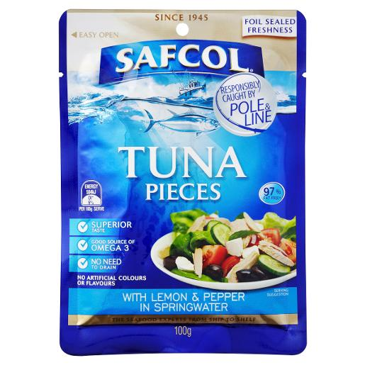 GOURMET ON THE GO TUNA WITH LEMON & PEPPER IN SPRINGWATER PO 100GM