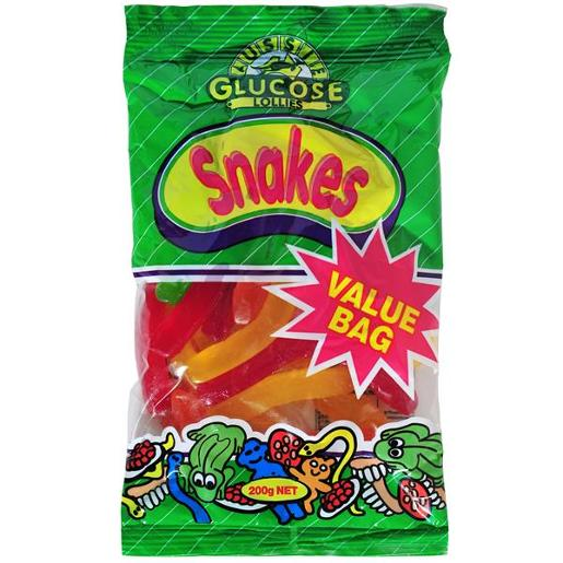AUSSIE GLUCOSE VALUE BAG SNAKES 200GM