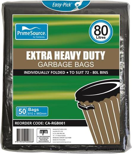 GARBAGE BAGS HEAVY DUTY EASY-PICK BLACK 72-8L 50S
