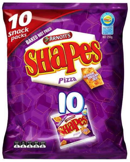 SHAPES SNACKS PIZZA MULTI PACK 250GM