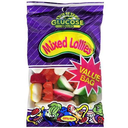 AUSSIE GLUCOSE VALUE BAG MIXED LOLLIES 200GM