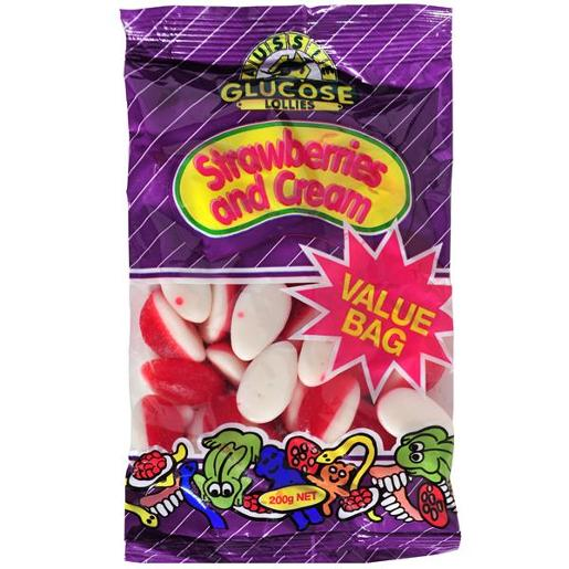 AUSSIE GLUCOSE VALUE BAG STRAWBERRIES AND CREAM 200GM