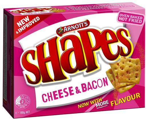 SHAPES SNACKS CHEESE AND BACON 180GM