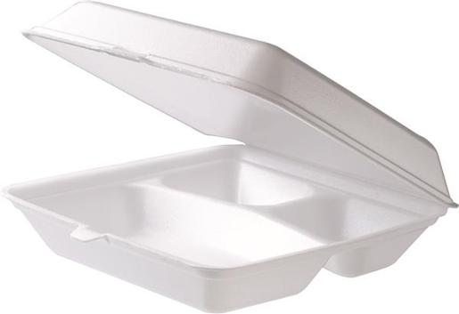 FOAM THREE COMPARTMENT DINNER BOX 100S