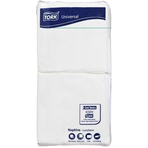 NAPKINS UNIVERSAL LUNCHEON 1PLY WHITE 250S