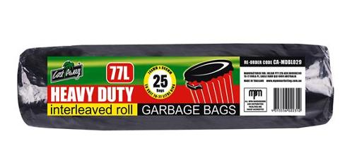GARBAGE BAGS INTERLEAVEN ROLL BLACK 7-77L 25S