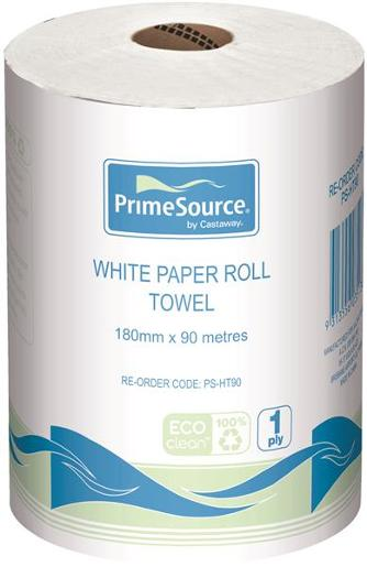 WHITE PAPER HAND TOWEL ROLL 18CM