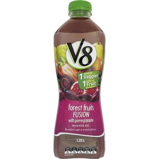 V8 JUICE FOREST FRUITS FUSION WITH POMEGRANTE FRUIT & VEGGIE 1.25L