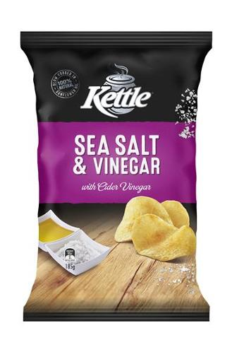 SEA SALT & VINEGAR NATURAL POTATO CHIPS 185GM