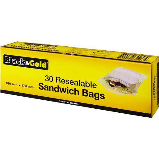 SANDWICH BAGS RESEALABLE 30S