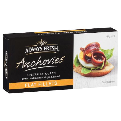 FLAT FILLET ANCHOVIES 45GM
