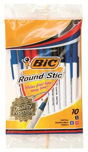 ROUND STIC PEN ASSORTED POUCH 10PK