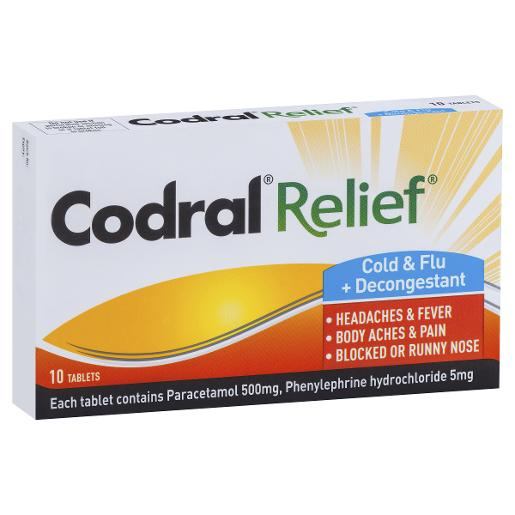 RELIEF COLD AND FLU DECONGESTANT 10S