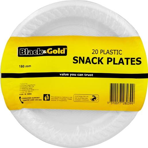 PLASTIC SNACK PLATES 18MM 20S