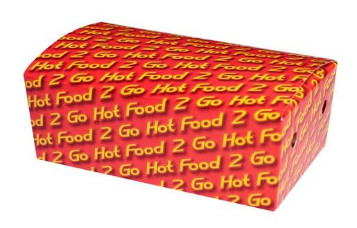 HOT FOOD 2 GO LARGE CARDBOARD SNACK CONTAINER 50S