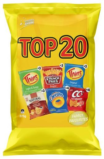 TOP 20 VARIETY POTATO CHIPS 375G