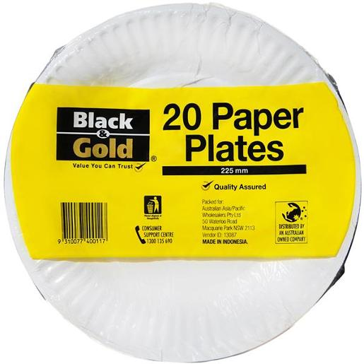 PAPER PLATES 225MM 20S