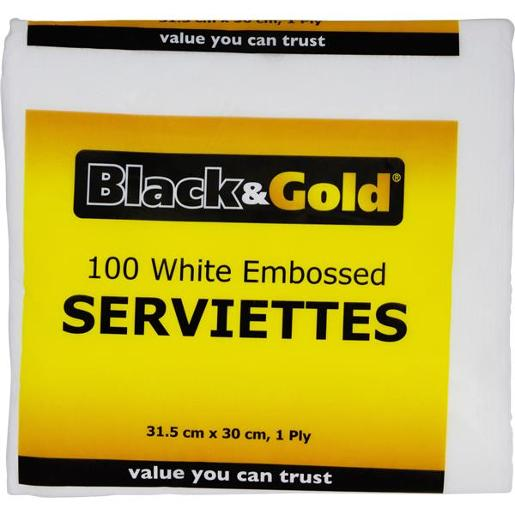 WHITE EMBOSSED SERVIETTES 1PLY 100S