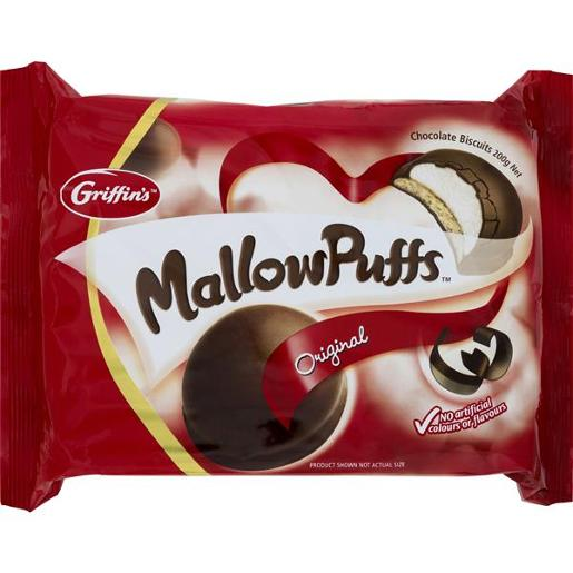 BISCUITS MALLOWPUFFS CHOCOLATE 200GM