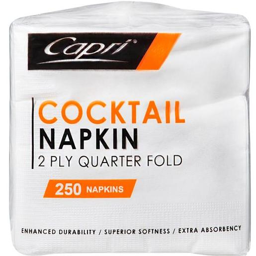 COCKTAIL NAPKINS WHITE 2PLY 250S