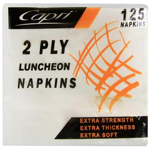 LUNCHEON NAPKINS WHITE 2PLY 125S