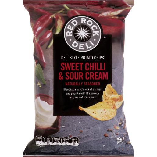 SWEET CHILLI AND SOUR CREAM POTATO CHIPS 90GM