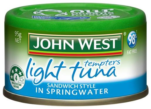 TUNA TEMPTERS LIGHT SPRINGWATER SANDWICH STYLE 95G