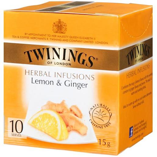 LONDON HERBAL INFUSIONS LEMON & GINGER TEA BAG 10S