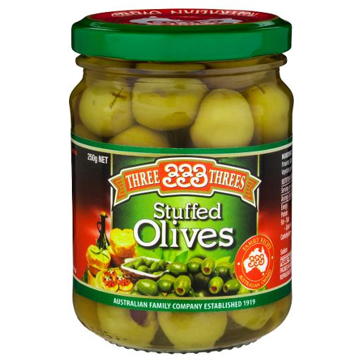 STUFFED GREEN OLIVES 250GM