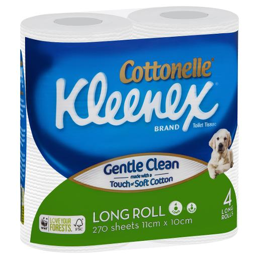 COTTONELLE TOILET TISSUE UNSCENTED WHITE LARGE 27 SHEETS 4PK