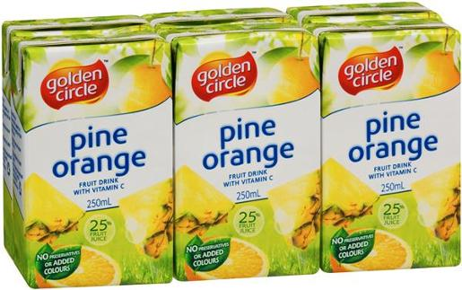 PINEAPPLE ORANGE JUICE 6 PACK 6X250ML