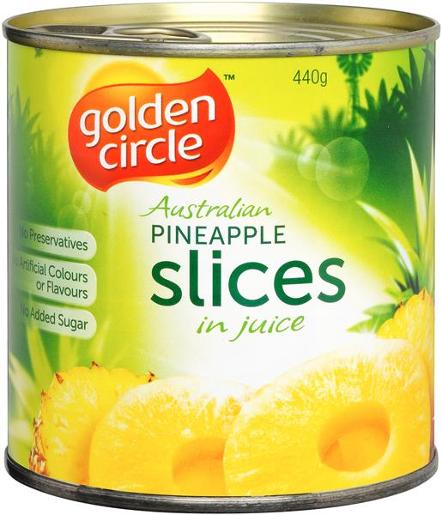 SLICED PINEAPPLE IN NATURAL JUICES 440GM