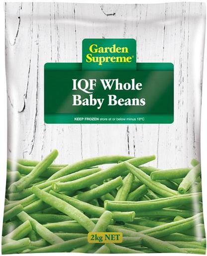 WHOLE BABY BEANS INDIVIDUALLY QUICK FROZEN 2KG