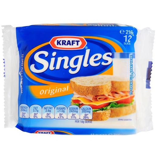 SLICED CHEESE SINGLES 12 SLICES 216GM
